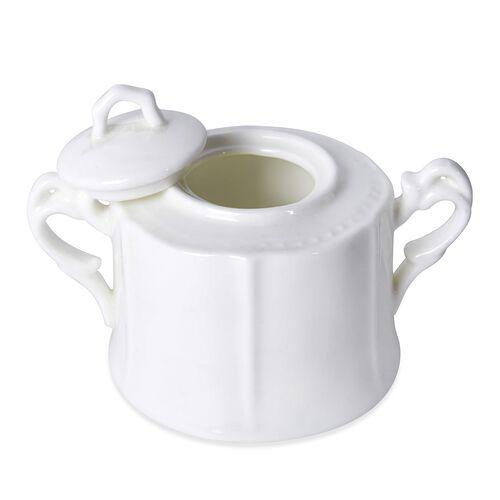 21 Piece Set - Embossed Tea Set (Consists of 6 Cups, 6 Saucers, 6 Spoons, 1 Sugar Jar, 1 Milk Jar, 1 Tea Pot) - White