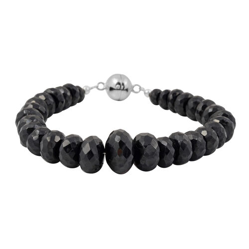 180 Carat Natural Boi Ploi Black Spinel Beaded Bracelet in Rhodium Plated Silver 7.5 Inch