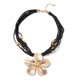 Multi Row Floral Necklace in Gold Plated Size 20 with 2.5 inch Extender