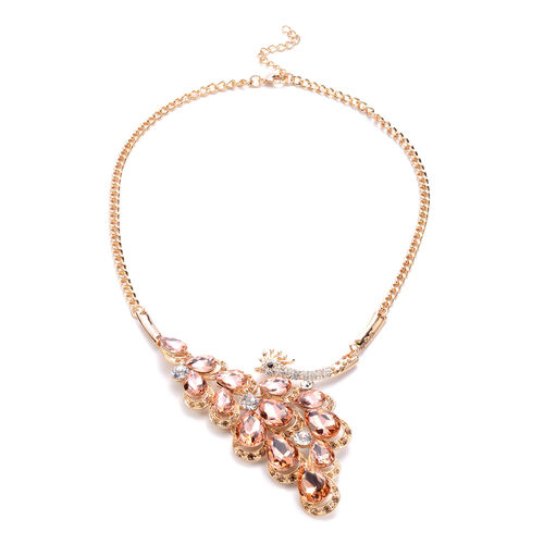 2 Piece Set - Simulated Champagne Quartz and Multi Colour Austrian Crystal Necklace (Size 22 with Extender) and Hook Earrings in Gold Tone