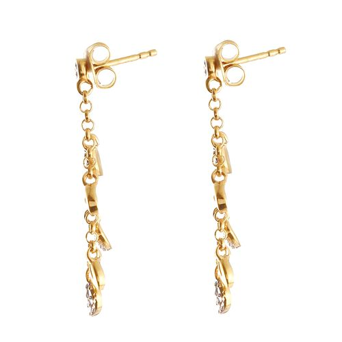 J Francis - Yellow Gold and Platinum Overlay Sterling Silver (Rnd) Leaf Dangle Earrings (with Push Back) Made With SWAROVSKI ZIRCONIA.