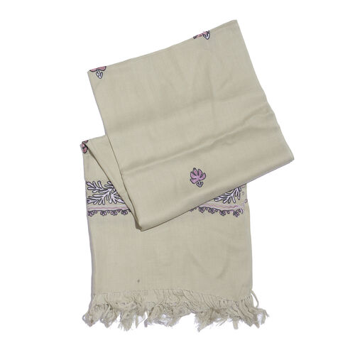 One Time Deal-100% Merino Wool Beige Shawl with Cashmere Embroidery (Size 180X70 Cm)