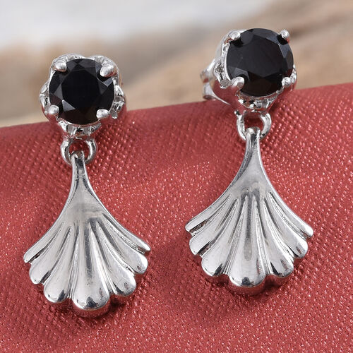 Boi Ploi Black Spinel (Rnd) Earrings (with Push Back) in Platinum Overlay Sterling Silver 1.500 Ct.