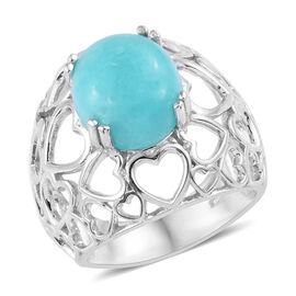 4.5 Ct Natural Peruvian Amazonite Solitaire Ring in Platinum Plated Sterling Silver 6.19 Grams