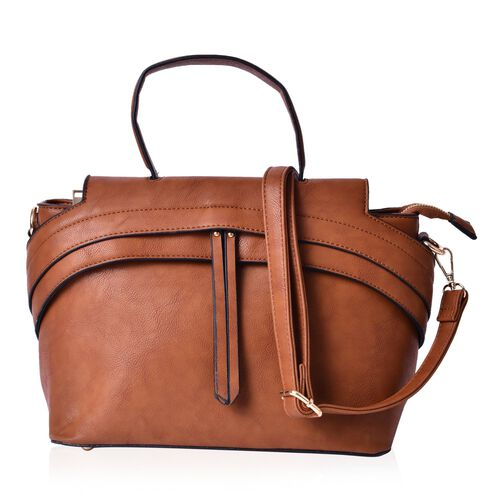 Chocolated Colour Tote Bag with External Zipper Pocket and Adjustable and Removable Shoulder Strap (Size 32x22.5x15 Cm)