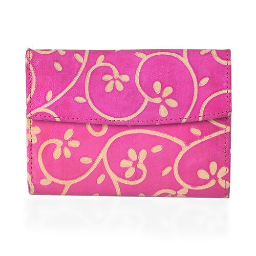 100% Genuine Leather Pink Colour RFID Blocker Twirl Pattern Ladies Wallet (Size 14x10x1.5 Cm)