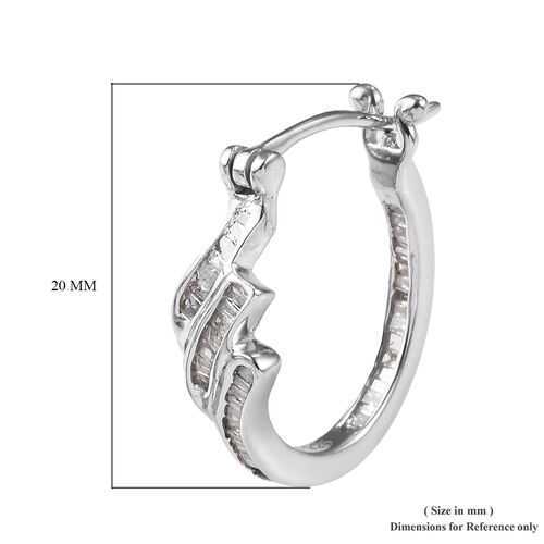 Diamond Hoop Earrings (with Clasp) in Platinum Overlay Sterling Silver 0.500 Ct.