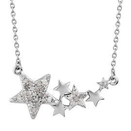 0.51 Ct Diamond Cluster Star Necklace in Platinum Plated Silver 18 Inch