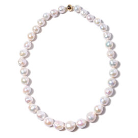 AAA White Edison Pearl Beaded Necklace in 9K Yellow Gold 3 Grams 20 Inch