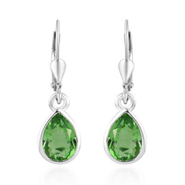 Helenite Drop Lever Back Earrings in Sterling Silver 1.50 Ct.