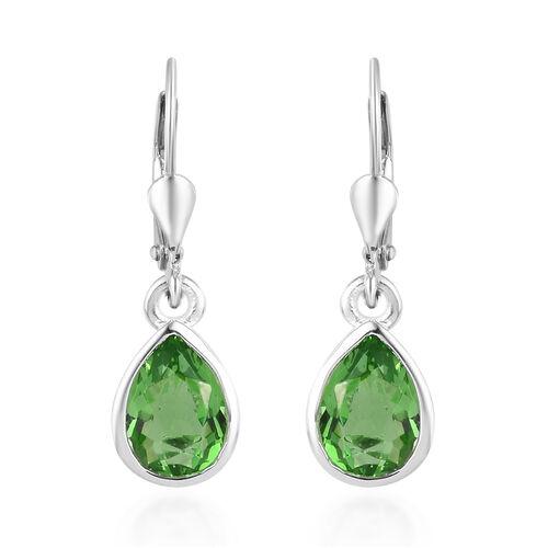 Helenite Drop Lever Back Earrings in Sterling Silver 1.50 Ct.