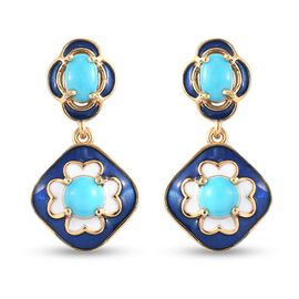 Sleeping Beauty Turquoise Dangling Earring in 14K Gold Overlay Sterling Silver 1.84 ct  1.835  Ct.