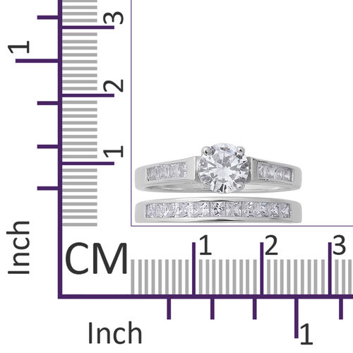 ELANZA Simulated Diamond (Rnd and Sqr) Ring in Rhodium Overlay Sterling Silver