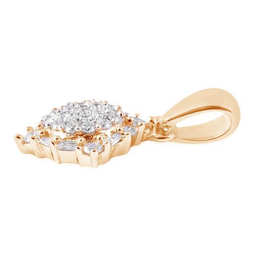 9K Yellow Gold SGL Certified Diamond (Rnd and Bgt) (I3/G-H) Pendant 0.20 Ct.