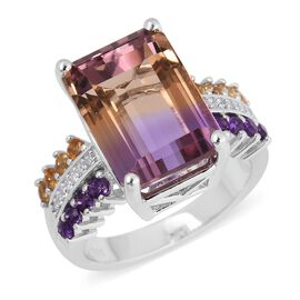 9.38 Ct Ametrine and Amethyst with Multi Gemstones Solitaire Design Ring in Sterling Silver 4.6 Gms