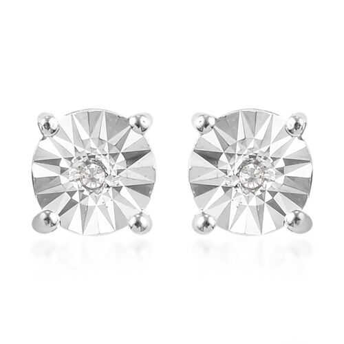 2 Piece Set -  White Diamond Solitaire Pendant and Stud Earrings (with Push Back) in Platinum Overlay Sterling Silver