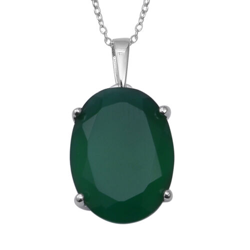7.55 Ct Verde Onyx Solitaire Pendant with Chain in Sterling Silver