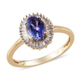 1 Carat AA Tanzanite and Diamond Halo Ring in 9K Gold I3 GH