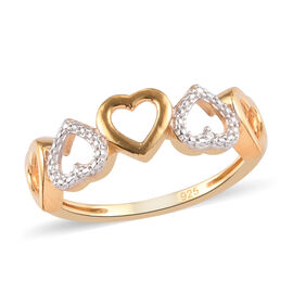 Diamond Hearts Ring in Yellow Gold and Platinum Overlay Sterling Silver