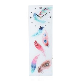 Wall Decor - Feather Pattern Rectangle Glass Wall Clock (Size 60x20x4 Cm)