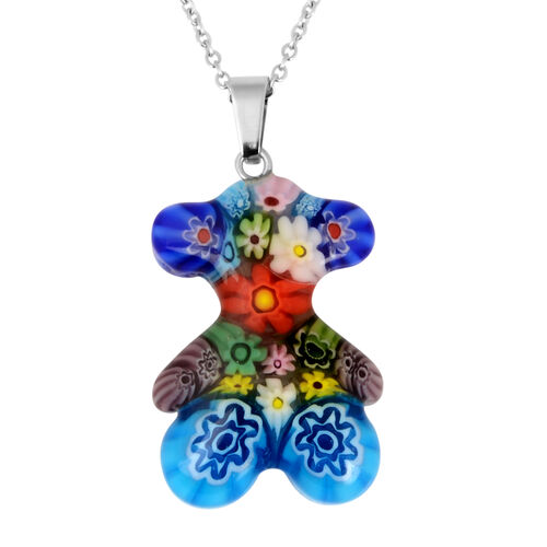 Blue Murano Style  Glass Pendant with Chain (Size 24) in Stainless Steel