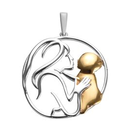 Platinum and Yellow Gold Overlay Sterling Silver Mother Child Love Pendant