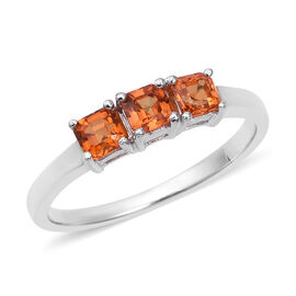 Signature Collection- AAA Sunset Sapphire (Asscher Cut) Trilogy Ring in Rhodium Overlay Sterling Sil