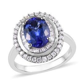 RHAPSODY 950 Platinum AAAA Tanzanite (Ovl 9x7 mm), Diamond Ring 2.25 Ct, Platinum wt 7.51 Gms