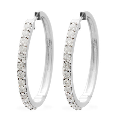9K White Gold SGL Certified Diamond (Rnd) (I3/G-H) Hoop Earrings (with Clasp Lock) 1.000 Ct, Gold wt