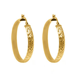 Hatton Garden Close Out Deal- 14K Gold Overlay Sterling Silver Hoop Earrings (with Clasp)
