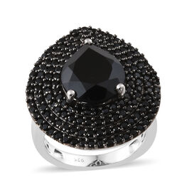 7 Carat Boi Ploi Black Spinel Cluster Ring in Platinum Plated Silver 6.34 Grams