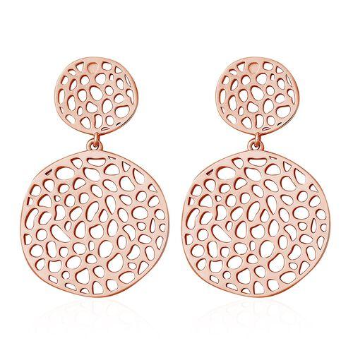 RACHEL GALLEY Lattice Disc Drop Earrings in Rose Gold Plated Silver