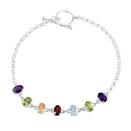 Sky Blue Topaz (Ovl), Multi Gemstone Bracelet (Size 7.5 Adjustable) in Sterling Silver 3.50 Ct, Silv