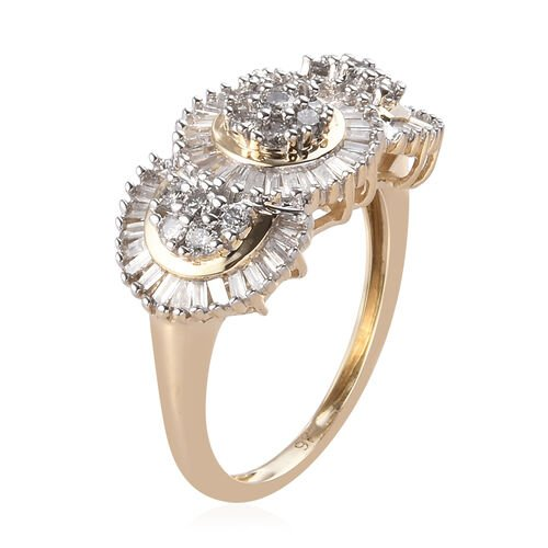 9K Yellow Gold SGL Certified Diamond (I3/ G-H) Cluster Ring 1.00 Ct.
