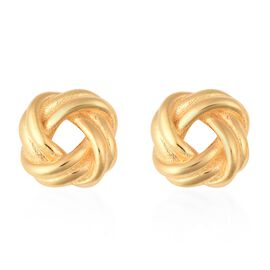 Designer Inspired- Yellow Gold Overlay Sterling Silver Knot Earrings (with Push Back), Silver wt 3.2