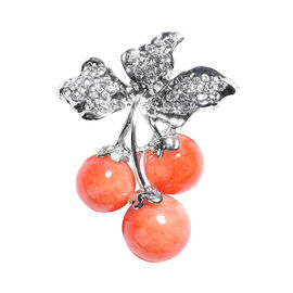 Orange Quartzite and White Austrian Crystal Enamelled Berry Design Brooch in Silver Tone