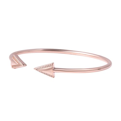 LucyQ Art Deco Collection - Natural White Cambodian Zircon (Rnd) Arrow Bangle (Size 8) in Rose Gold Overlay Sterling Silver, Silver Wt. 8.02 Gms