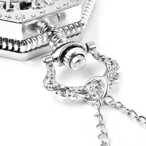 GENOA Automatic Mechanical Octagonal Hollow-Out Number Pattern Skeleton Pocket Watch with Chain in Silver Tone