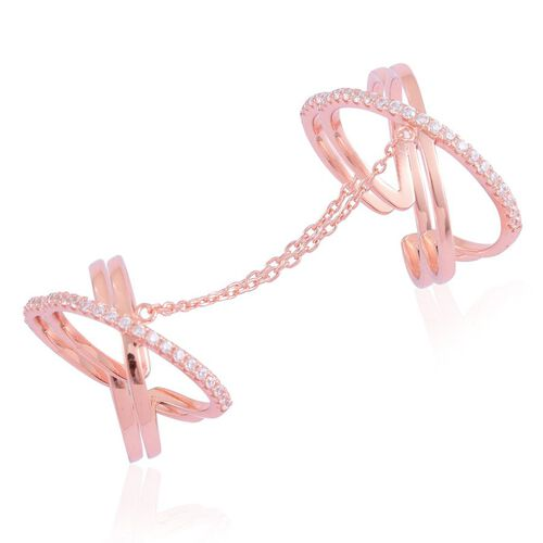 AAA Simulated White Diamond 2 Rings with Chain in Rose Gold Overlay Sterling Silver