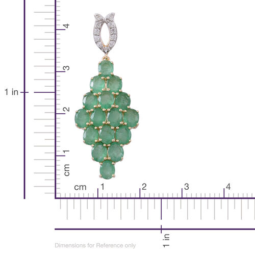 9K Yellow Gold Kagem Zambian Emerald (Ovl), Natural White Cambodian Zircon Pendant 3.500 Ct.