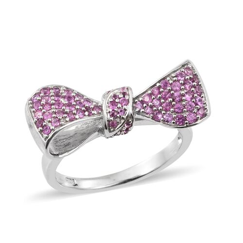 Designer Inspired-Pink Sapphire (Rnd) Bow Ring in Platinum Overlay Sterling Silver 1.250 Ct. Silver wt. 5.87 Gms.