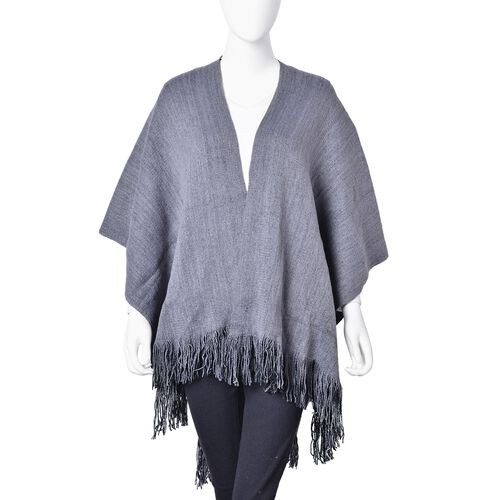 One Time Deal-Grey and Black Colour Reversible Poncho with Tassels (Free Size)