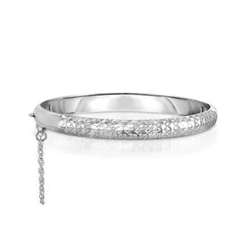 One Time Deal- Designer Inspired- Sterling Silver Diamond Cut Bangle (Size 7.5)