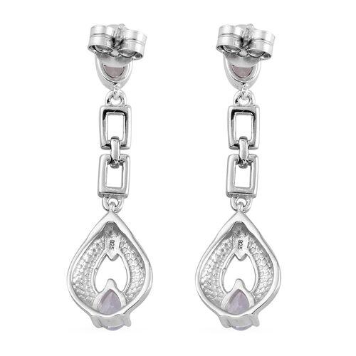 Santa Teresa Aquamarine Dangling Earrings (with Push Back) in Platinum Overlay Sterling Silver 0.800  Ct.