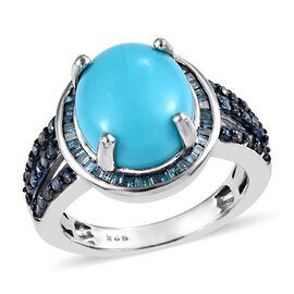4.75 Ct Sleeping Beauty Turquoise and Blue Diamond Halo Ring in Platinum Plated Silver 4.30 Grams
