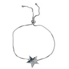 Blue and White Diamond (Rnd) Star Bracelet (Size 6.5 - 9.5 Adjustable) in Platinum Overlay with Blue