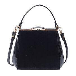 BOUTIQUE COLLECTION Black Satchel Bag with Detachable Shoulder Strap and Top Handle (Size 24x11x19 C