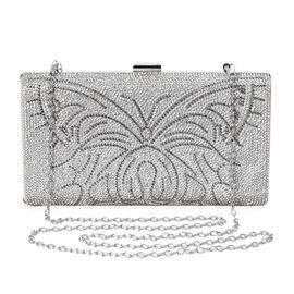 Butterfly Pattern Crystal Studded Clutch Bag with Detachable Shoulder Chain Strap and Toggle Clip (S