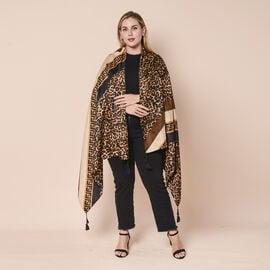 Leopard Pattern Scarf with Tassels (Size 180x90cm) - Brown