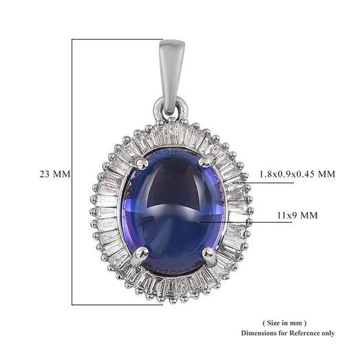 RHAPSODY 950 Platinum AAAA Tanzanite and Diamond (VS/E-F) Pendant 5.25 Ct.